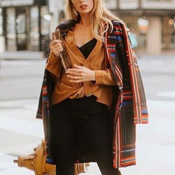 DIANA Plaid Print Coat Blazer-Jackets & Coats-Moda Me Couture