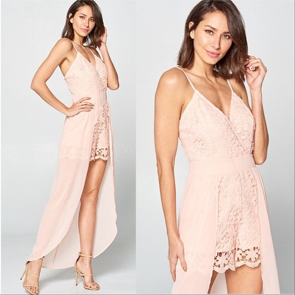 Blush Romper with Skirt Overlay-Pants-Moda Me Couture