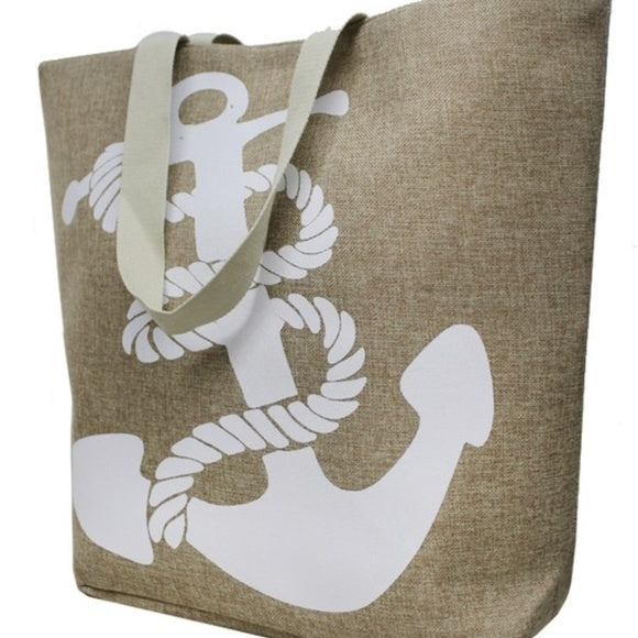 Anchor Print Tote Bag-Accessories-Moda Me Couture