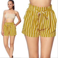 Yellow Striped Shorts-Pants-Moda Me Couture