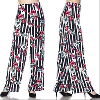 Floral and Stripes Wide Legged Pants