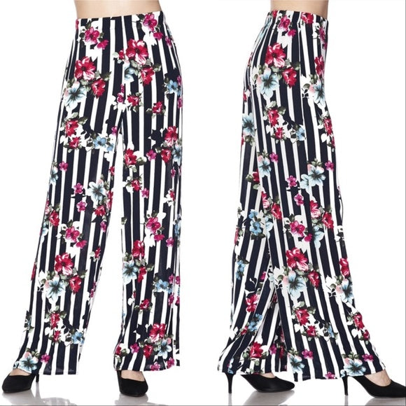 Floral and Stripes Wide Legged Pants-Pants-Moda Me Couture