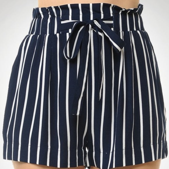 Navy Blue Striped Shorts