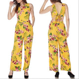 Yellow Floral Print Jumpsuit-Pants-Moda Me Couture