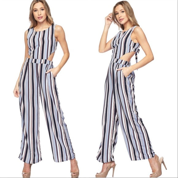 Striped wide legged pants-Pants-Moda Me Couture