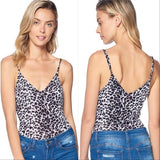 Leopard Print Bodysuit - Gray-Tops-Moda Me Couture