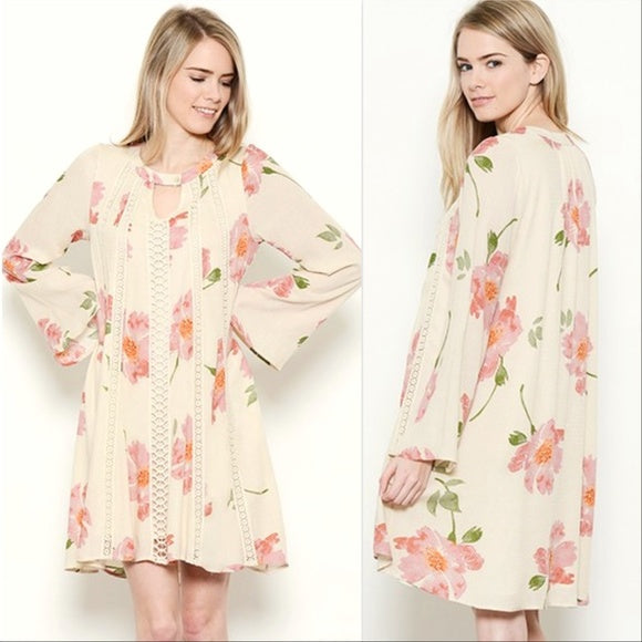 Floral Print Tunic Dress-Dress-Moda Me Couture
