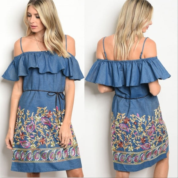 Embroidered Denim Dress-Dress-Moda Me Couture