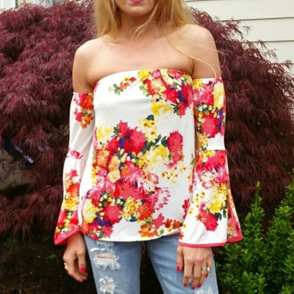 Floral Off Shoulder Top-Tops-Moda Me Couture