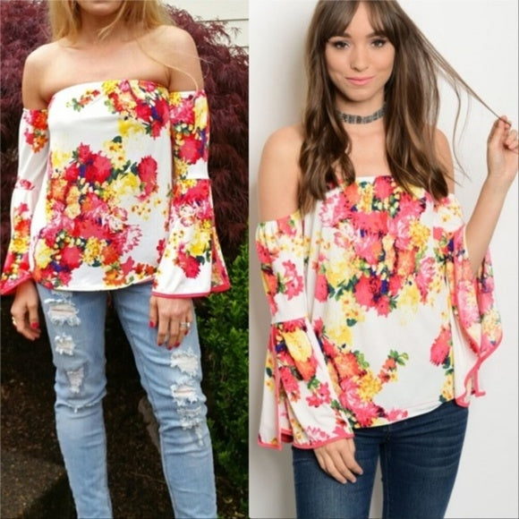Floral Off Shoulder Top-Tops-Moda Me Couture ®