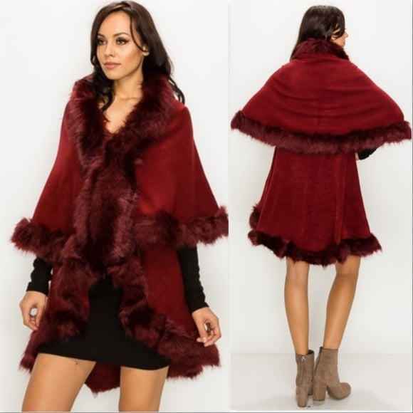 Audrey Burgundy Classic Cape with Faux Fur Trim-Sweater-Moda Me Couture ®