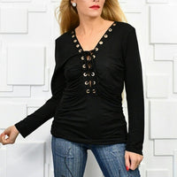 Black Lace Up Front Top-Tops-Moda Me Couture