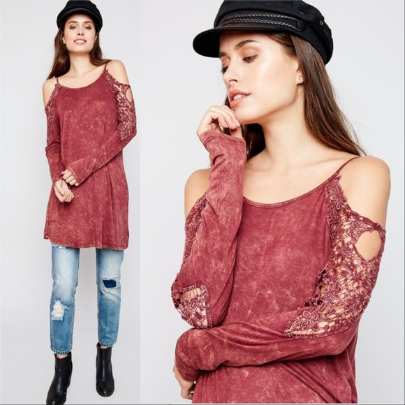 Burgundy Tie Dye Top-Tops-Moda Me Couture