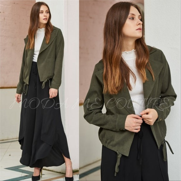 RAINY Casual Jacket - Dark Olive-Jackets & Coats-Moda Me Couture