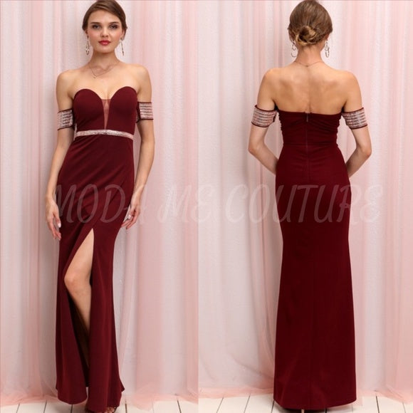 Elle Elegant Dress Burgundy-Dress-Moda Me Couture ®