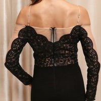 Antoinette Elegant Statement Maxi Black Dress-Dress-Moda Me Couture