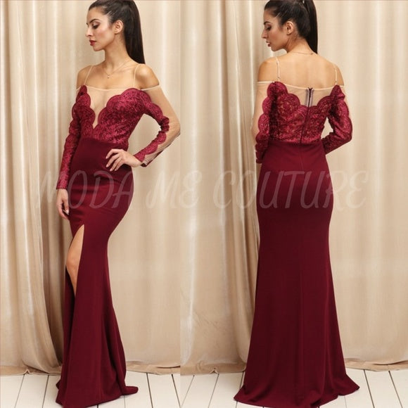 ANTOINETTE Elegant Statement Maxi Burgundy Dress-Dress-Moda Me Couture ®