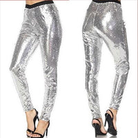 Davina Silver Sequin Skinnies-Pants-Moda Me Couture