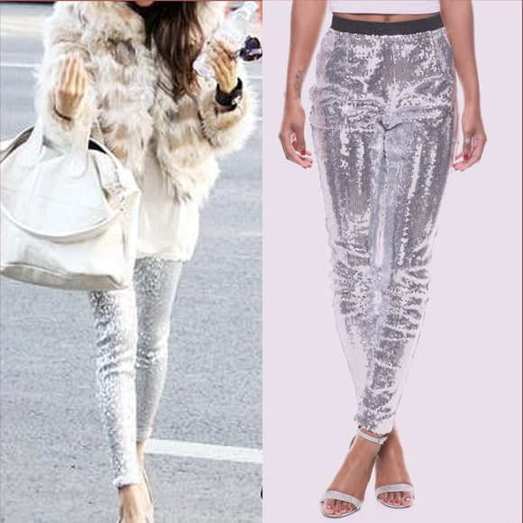 DAVINA Silver Sequin Skinnies