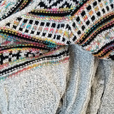 Cecilia Multi Colored Cardigan Beige-Sweater-Moda Me Couture ®