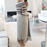 Cecilia Multi Colored Cardigan Beige-Sweater-Moda Me Couture