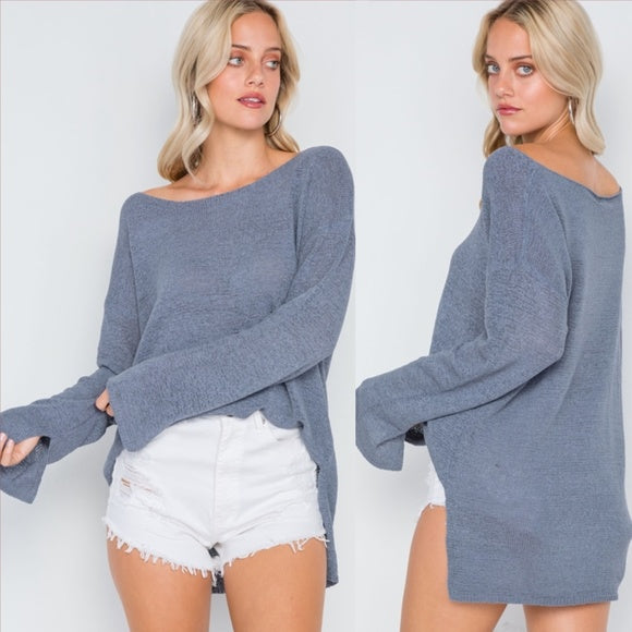 Amy Causal Top Dusty Blue-Tops-Moda Me Couture