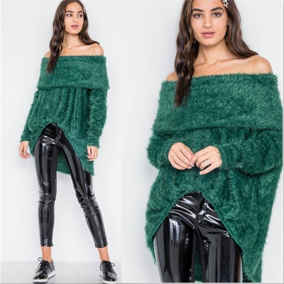 ERICKA Soft Fuzzy Sweater - Green-Sweater-Moda Me Couture