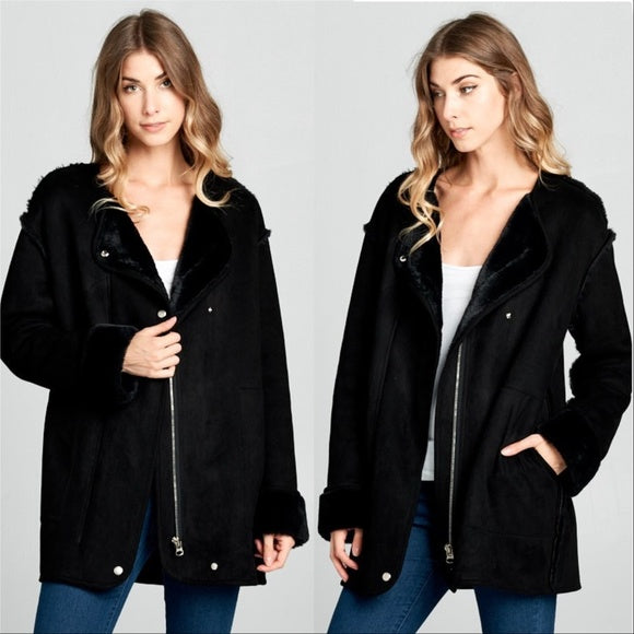 ELLA Suede Fur lined Coat Black-Jackets & Coats-Moda Me Couture