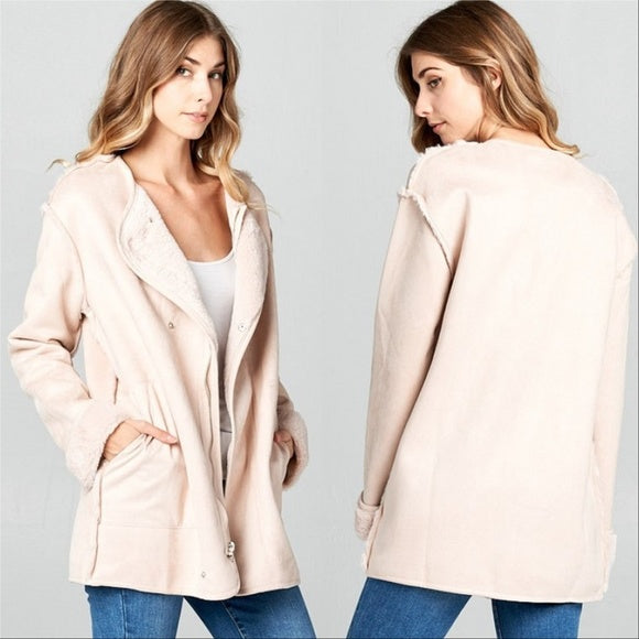 ELLA Suede Fur lined Coat Pink-Jackets & Coats-Moda Me Couture