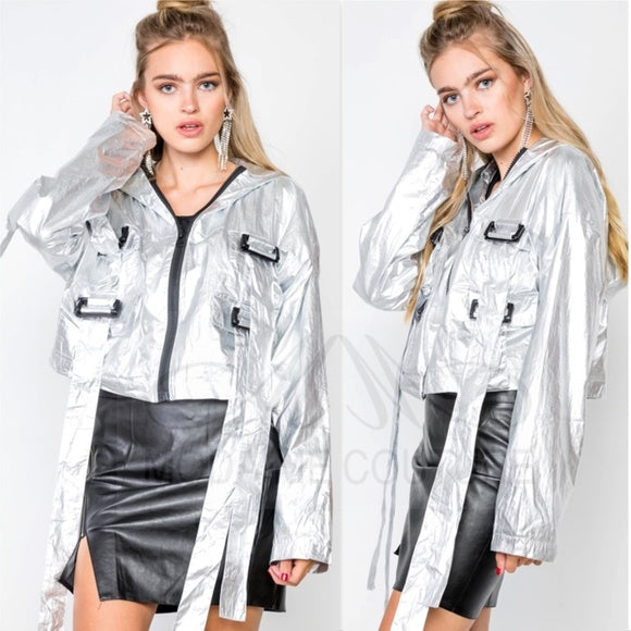 GEM Silver Metallic Jacket-Jackets & Coats-Moda Me Couture