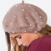 Pearl Detailed fuzzy Beret - Mocha-Accessories-Moda Me Couture