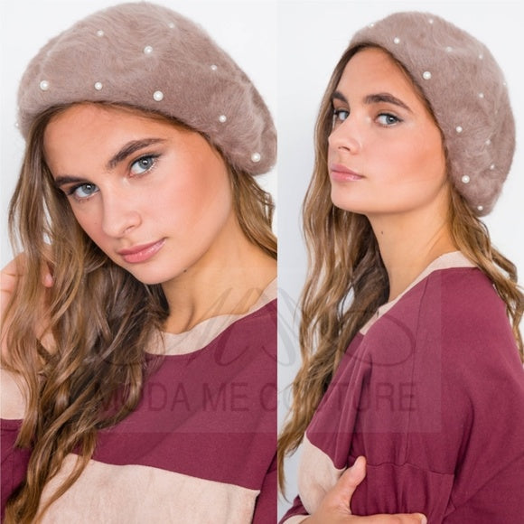 Pearl Detailed fuzzy Beret - Mocha