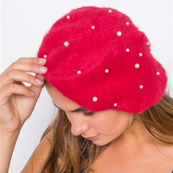 Pearl Detailed fuzzy Beret - Red-Accessories-Moda Me Couture