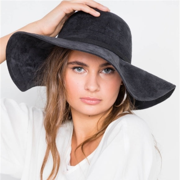 Suede Floppy Hat - Black