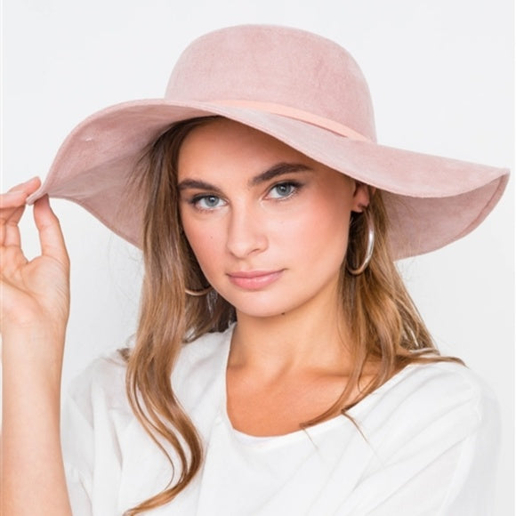 Suede Floppy Hat - Pink-Accessories-Moda Me Couture