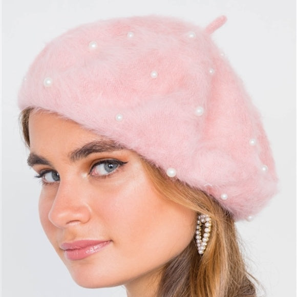Pearl Detailed fuzzy Beret -Pink-Accessories-Moda Me Couture