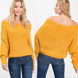 EVELYN Fuzzy Off Shoulder Sweater Yellow-Sweater-Moda Me Couture