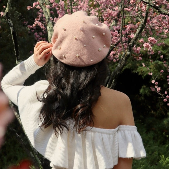 Pearl Detailed fuzzy Beret -Pink