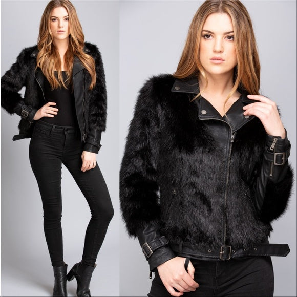 JENNIFER Faux fur & leather Jacket-Jackets & Coats-Moda Me Couture