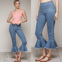 Cropped Flared Jeans-Jeans-Moda Me Couture