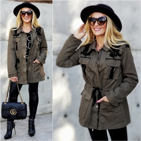 Casual Green Anorak Jacket-Jackets & Coats-Moda Me Couture
