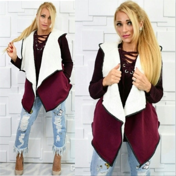 Faux Shearling Fur Vest Burgundy-Jackets & Coats-Moda Me Couture