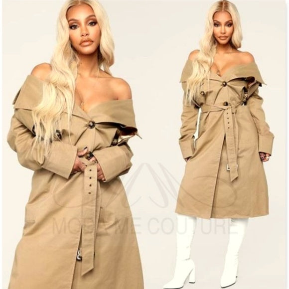 ALEX Cotton Pocketed Trench Coat-Jackets & Coats-Moda Me Couture