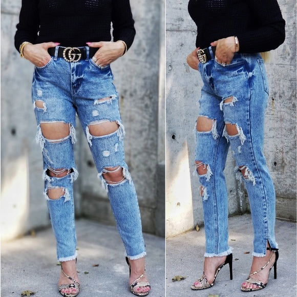 Ally Ripped Jeans-Jeans-Moda Me Couture