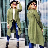 Green Cardigan Waterfall Front