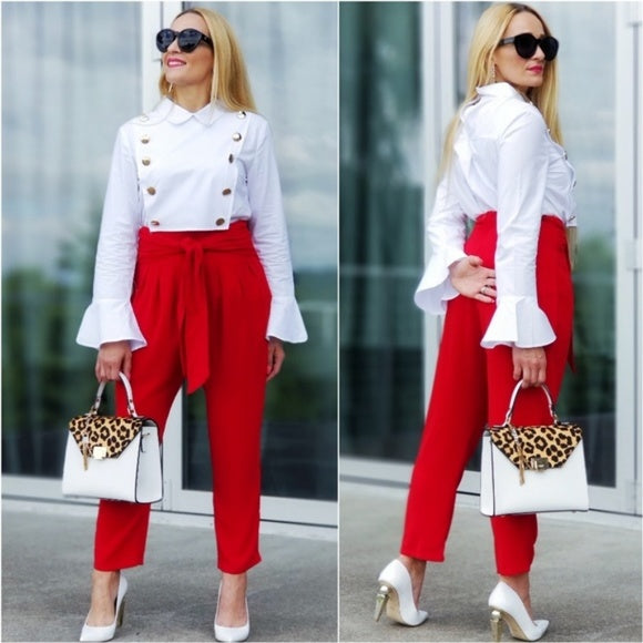 RAYA Red Pants-Pants-Moda Me Couture