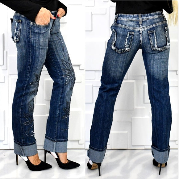 Beaded Detailed Jeans-Jeans-Moda Me Couture