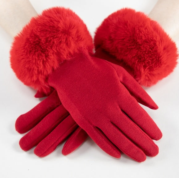 Faux Fur Detail Gloves - Red-Accessories-Moda Me Couture