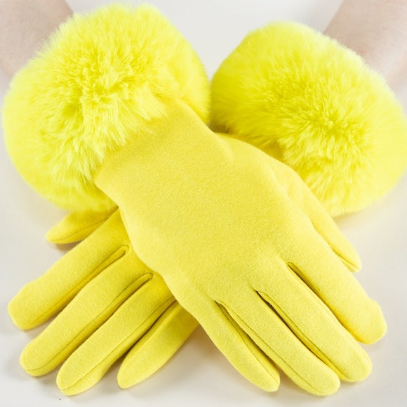 Faux Fur Detail Gloves - Yellow-Accessories-Moda Me Couture