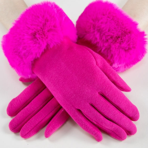 Faux Fur Detail Gloves - Pink